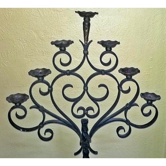 18c Spanish Cast Iron Floor Candelabra - Image 2 of 10