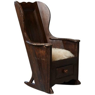 Late 18th Century Elm and Pine Rocking Lambing Chair For Sale