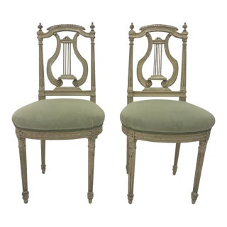 Neoclassical Style Green Painted Lyre Back Side Chairs - a Pair