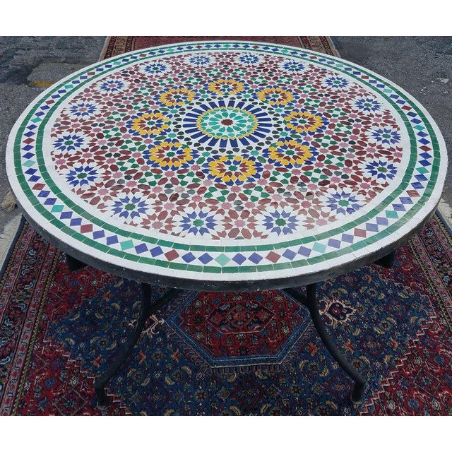 Mosaic Moroccan Multi-Color Mosaic Coffee Table For Sale - Image 7 of 7