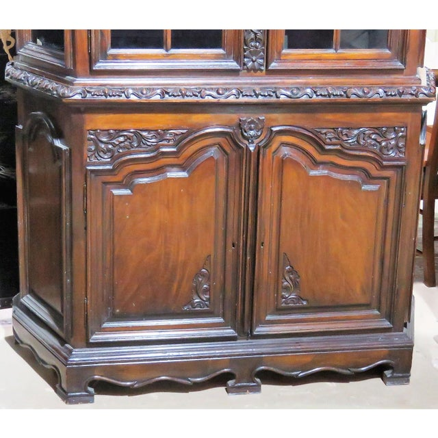 Brown 19th C. Carved Georgian 2 Pc. China Closet For Sale - Image 8 of 8