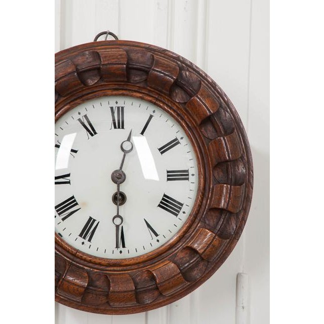 Late 19th Century French 19th Century Hand Carved Oak Wall Clock For Sale - Image 5 of 7