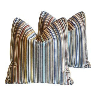 Maharam Paul Smith Velvet Stripe/Crushed Velvet Feather/Down Pillows - Pair