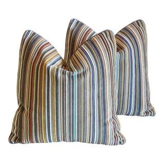 Maharam Paul Smith Velvet Stripe/Crushed Velvet Feather/Down Pillows - Pair