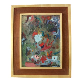 1960's Modern Abstract Palette Knife Oil Painting in Walnut Wood Frame For Sale