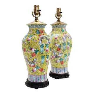 Chinese Porcelain Table Lamps a Pair - Famille Jaune-Rose Texture -Asian Oriental Palm Beach Boho Chic Mid Century Flowers Fruits Butterflies Designer For Sale