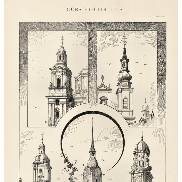 French Large C1880s French Architecture Lithograph of Towers & Clock Towers For Sale - Image 3 of 5