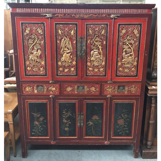 Antique Carved Asian Cabinet For Sale - Image 13 of 13