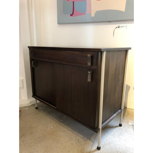 Industrial Knoll and Drake Walnut Cabinet With Sliding Doors For Sale - Image 3 of 8