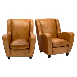 Poltrona Frau Leather Armchairs - a Pair For Sale