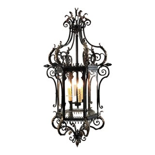 Antique Wrought Iron Lantern Chandelier For Sale