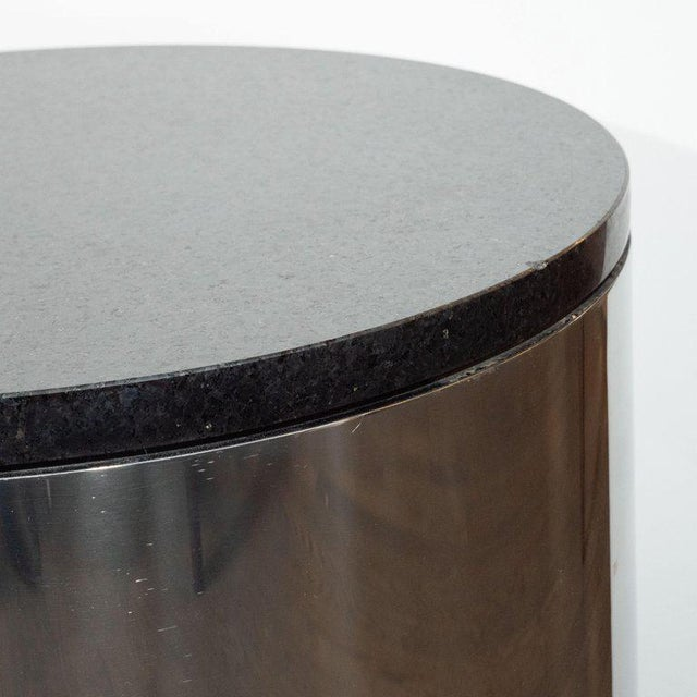 Mid-Century Modern Cylindrical Drum Form Chrome and Granite Occasional Table For Sale In New York - Image 6 of 9