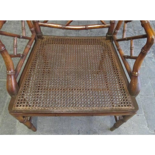 Wood Pair of Chinese Faux Bamboo Chippendale Style Armchairs For Sale - Image 7 of 7