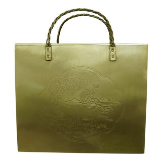 Italian Polished Brass Shopping Bag Etched C.1970