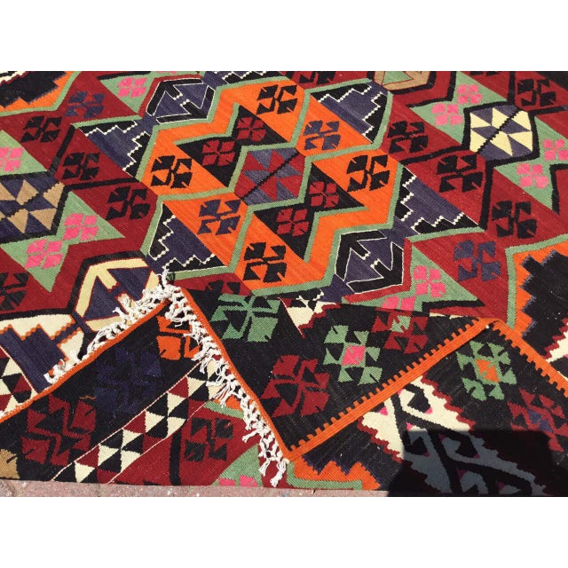 Orange Turkish Kilim Rug For Sale - Image 8 of 9
