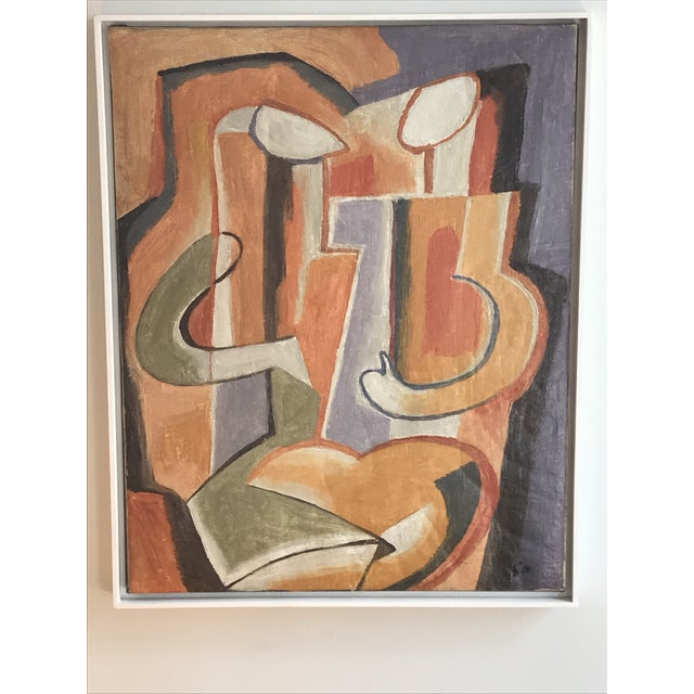 "Transitional Rare! Gorgeous! 20th Century Abstract ""Two Figures"" Oil on Canvas Painting by Maurice Cloud For Sale - Image 3 of 8"