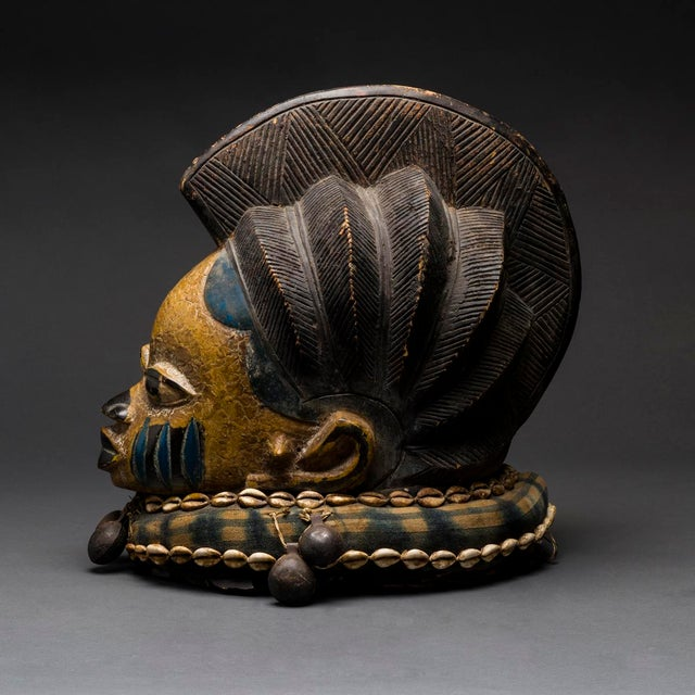 African Yoruba Wooden Polychrome Gelede Mask For Sale - Image 3 of 4