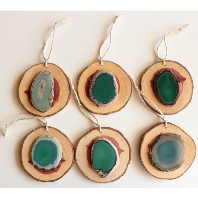 Agate and Cedar Slice Christmas Ornaments - Set of 6 - Image 2 of 8