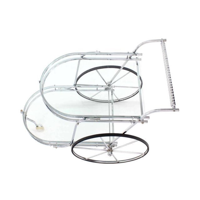 Mid-Century Modern Large Wheel Design Chrome and Glass Tea Bar Cart For Sale - Image 3 of 7