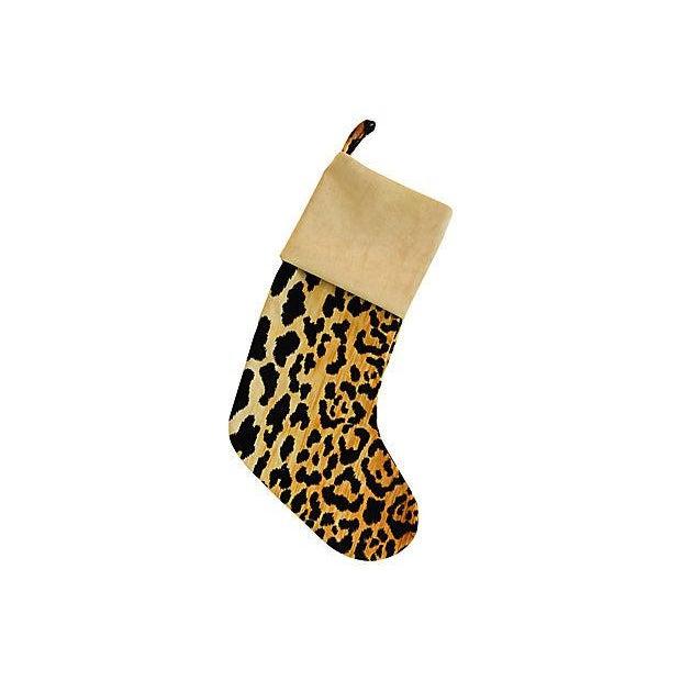 Boho Chic Custom Velvety Leopard Christmas Stocking For Sale - Image 5 of 5