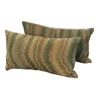 Beaded Chevron Blue Pillows - A Pair