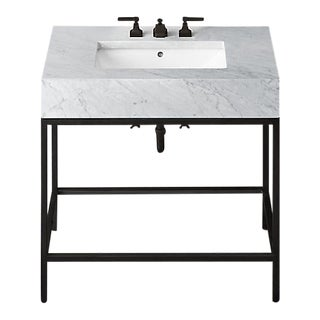Restoration Hardware Hudson Metal Single Washstand Bathroom Sink Vanity For Sale