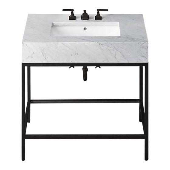 Restoration Hardware Hudson Metal Single Washstand Bathroom Sink Vanity For Sale