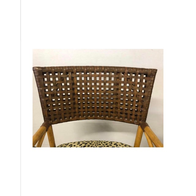 Animal Skin Hickory White Woven Leather and Bamboo Dining Chairs With Round Wood Table Set For Sale - Image 7 of 13