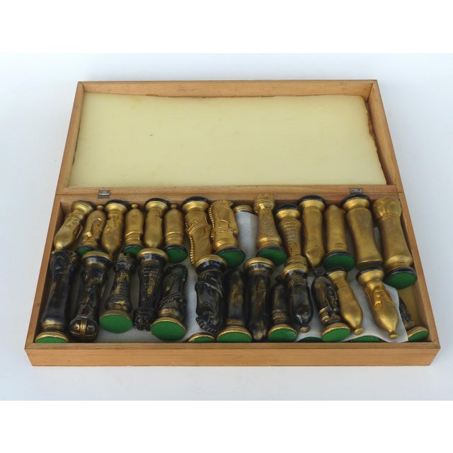 Monumental Wood Case Chess Set W/ Plaster Chess Pieces For Sale - Image 10 of 11