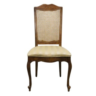 Late 20th Century Vintage Stanley Furniture Fleur De Bois Country French Fruitwood Cane-Back Side Chair For Sale