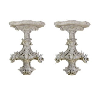 Vintage White Carved Brackets - a Pair For Sale