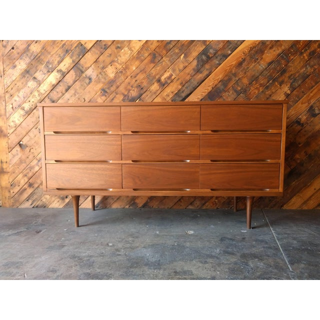 Mid-Century Walnut 9-Drawer Dresser - Image 2 of 7