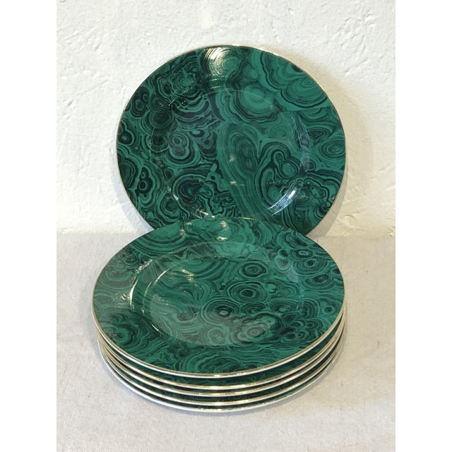 Green Green Faux Malachite Small Plates - Set of 6 For Sale - Image 8 of 8