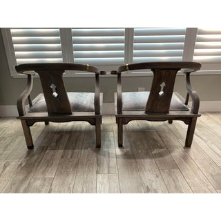 Vintage Mid Century Horseshoe Back Ming James Asian Mont Style Armchairs - a Pair Preview