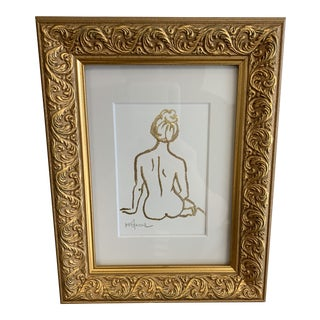 Michele Stancil Nude Figure in Gold Frame For Sale