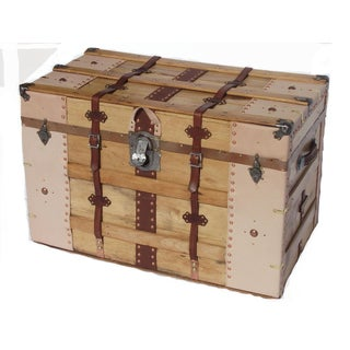 1900s Rustic Steamer Trunk With Leather Binding Preview