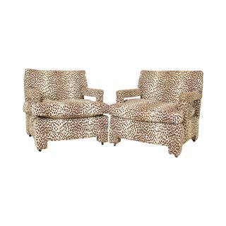 Dorothy Lerner Hollywood Regency Pair Upholstered Lounge Chairs Frames For Sale