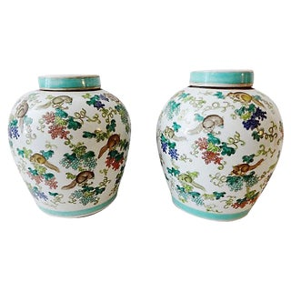 Porcelain Famille verte Ginger Jars, S/2 For Sale