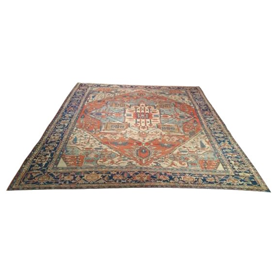10′3″ X 12′8″ Antique Persian Serapi Hand Knotted Rug