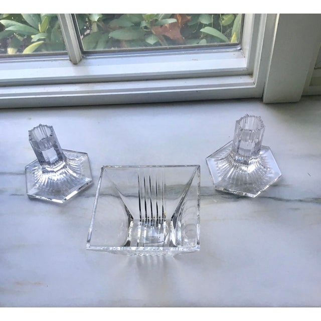 Tiffany and Co. Vintage Tiffany Candleholders & Bowl S/3 For Sale - Image 4 of 7