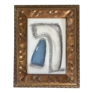 Charcoal Abstract Drawing Vintage Frame For Sale