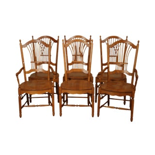 Quality Set 6 Solid Oak Wheat Sheaf Back Dining Chairs For Sale