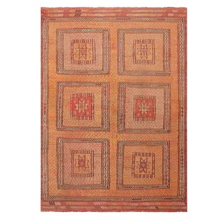 """1940's Vintage Geometric Yellow and Pink Wool Kilim Rug-5'3'x7'5"""" For Sale"""