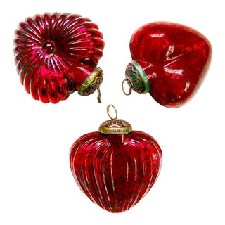 Vintage German Mercury Glass Red Heart Ornaments For Sale