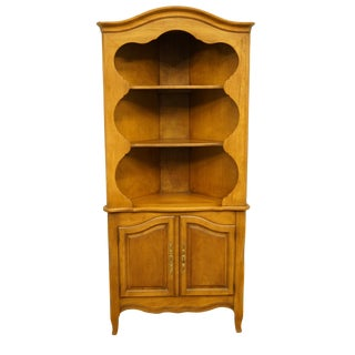 20th Century French Country Drexel Heritage Solid Maple Corner Cabinet For Sale