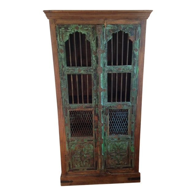 Moroccan Wooden Walnut Stained Armoire - Image 1 of 5