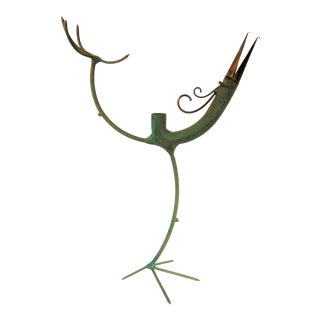 Mid Century Modern Gino Bushini Mixed Metal Bird Candleholder Sculpture Signed For Sale