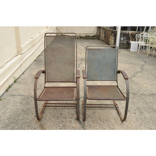 Vintage Steel Metal Mesh His and Hers Patio Bouncer Lounge Chairs - a Pair For Sale - Image 12 of 12