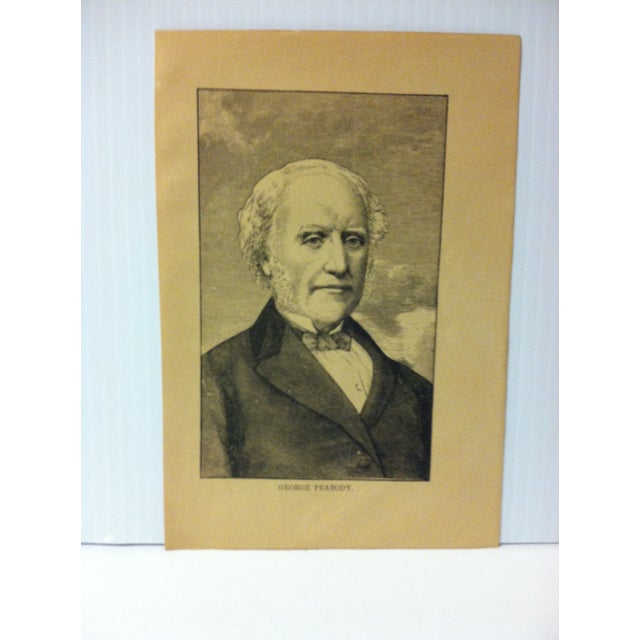 """This is an Antique Print on Paper that presents a Successful Self-Made Man and is titled """"George Peabody"""". The Print was..."""