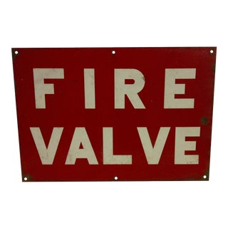 "Vintage Porcelain Sign ""Fire Valve"""